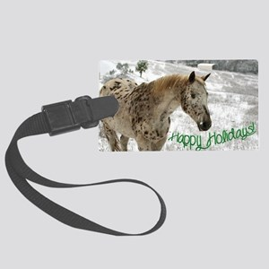 Appaloosa in the Snow Large Luggage Tag