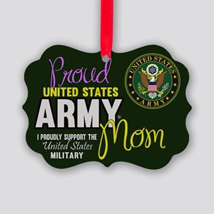 Proud Army Mom Seal Green Ornament