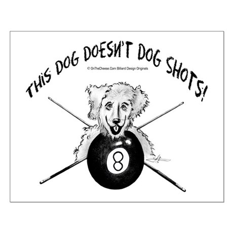 8 Ball Pool Playing Dog Small Poster