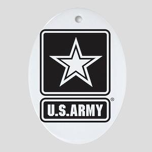 Army Black Star Logo Oval Ornament