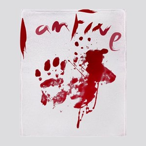 blood Splatter I Am Fine Throw Blanket