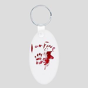 blood Splatter I Am Fine Aluminum Oval Keychain