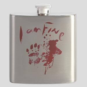 blood Splatter I Am Fine Flask