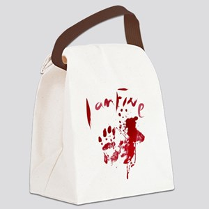 blood Splatter I Am Fine Canvas Lunch Bag