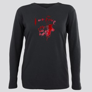 blood Splatter I Am Fine Plus Size Long Sleeve Tee