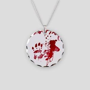 blood Splatter I Am Fine Necklace Circle Charm
