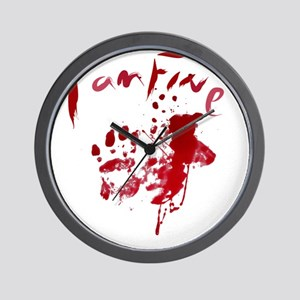 blood Splatter I Am Fine Wall Clock