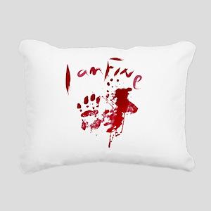 blood Splatter I Am Fine Rectangular Canvas Pillow