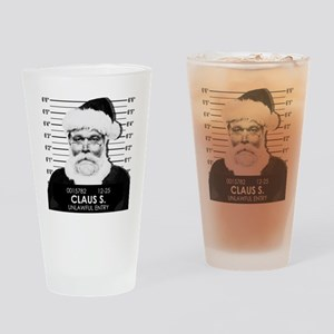 Santa Mugshot Drinking Glass