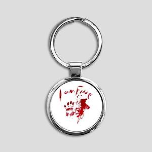 blood Splatter I Am Fine Keychains