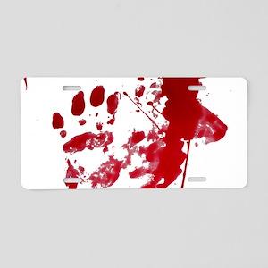 blood Splatter I Am Fine Aluminum License Plate