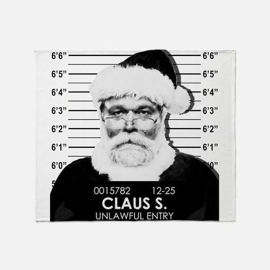 Santa Mugshot Throw Blanket