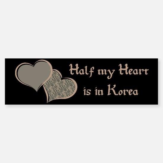 Half my Heart is in Korea Bumper Bumper Bumper Sticker