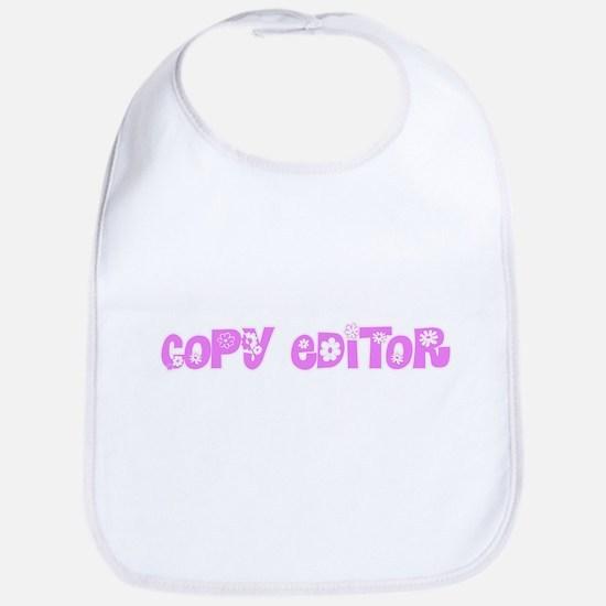 Copy Editor Pink Flower Design Baby Bib
