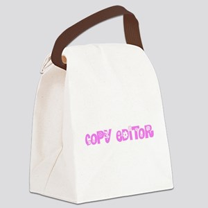 Copy Editor Pink Flower Design Canvas Lunch Bag