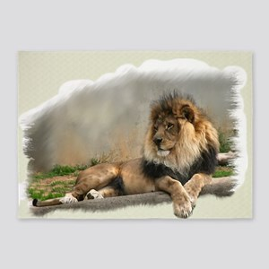 Lion Lovers Art 5'x7'Area Rug
