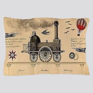 Railway Steampunk Pillow Case