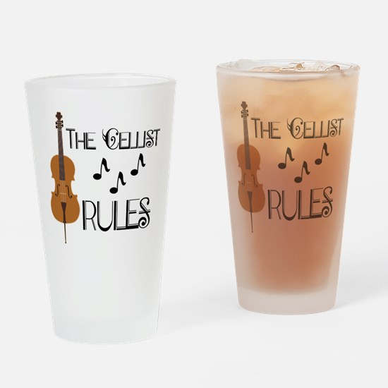 Cello Music Cellist Rules Drinking Glass