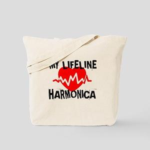 My Life Line Harmonica Music Tote Bag