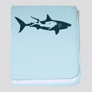 shark scuba diver hai tauchen taucher baby blanket