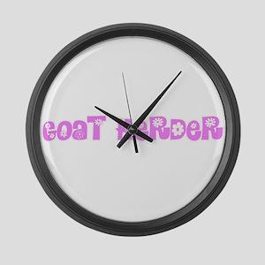 Goat Herder Pink Flower Design Large Wall Clock
