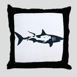 shark scuba diver hai tauchen taucher Throw Pillow