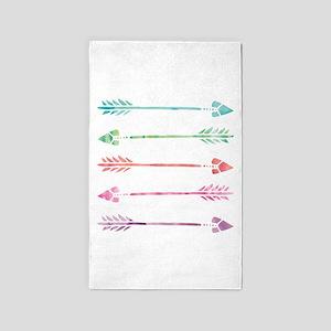 Rainbow Watercolor Arrows Area Rug