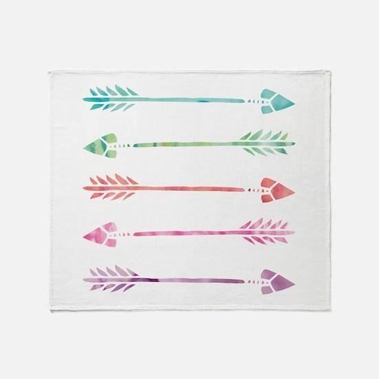 Rainbow Watercolor Arrows Throw Blanket