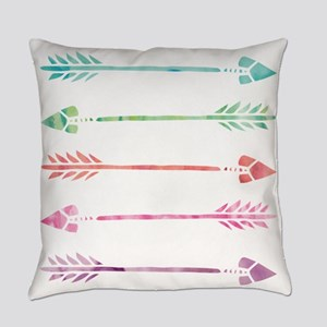 Rainbow Watercolor Arrows Everyday Pillow