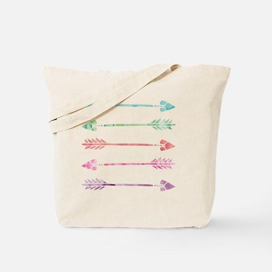 Rainbow Watercolor Arrows Tote Bag