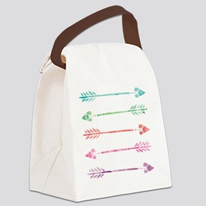 Rainbow Watercolor Arrows Canvas Lunch Bag