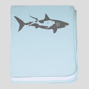 shark scuba diver hai taucher diving baby blanket