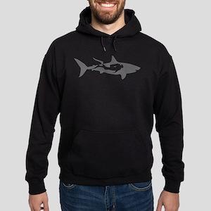 shark scuba diver hai taucher diving Hoodie (dark)