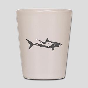 shark scuba diver hai taucher diving Shot Glass