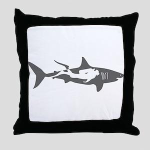 shark scuba diver hai taucher diving Throw Pillow