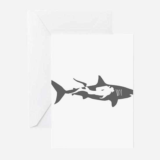 shark scuba diver hai taucher divin Greeting Cards