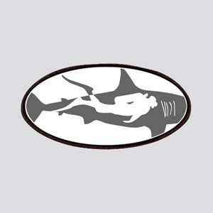 shark scuba diver hai taucher diving Patch