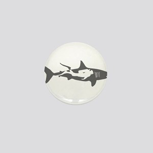 shark scuba diver hai taucher diving Mini Button