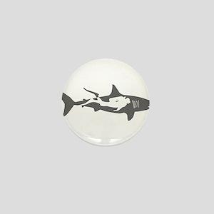 shark scuba diver hai taucher diving Mini Button