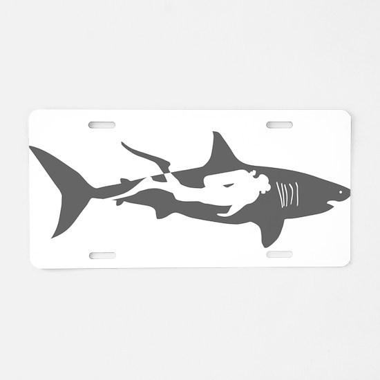 shark scuba diver hai tauch Aluminum License Plate