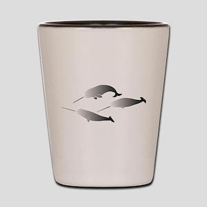 whale whales narwal narwhale unicorn sc Shot Glass