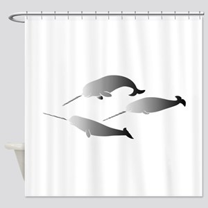 whale whales narwal narwhale unicor Shower Curtain
