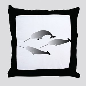whale whales narwal narwhale unicorn Throw Pillow