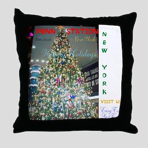 PENN STATION NY CHRISTMAS TREE. Throw Pillow