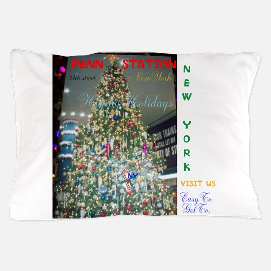 Penn Station Ny Christmas Tree. Pillow Case