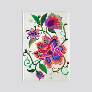 Embroidered Flowers Rectangle Magnet