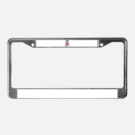Embroidered Flowers License Plate Frame