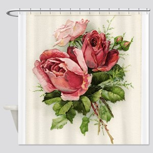 Vintage Antique Roses Shower Curtain