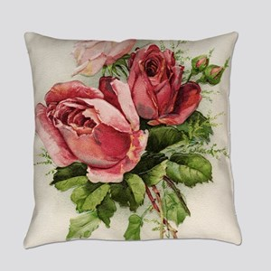 Vintage Antique Roses Everyday Pillow