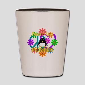 Peace Love Penguins Shot Glass